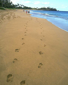 footprints in sand